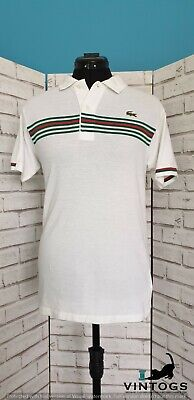 "Lacoste white polo retro tennis shirt 36"" Chest sz 10"