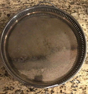 VINTAGE Hartford Sterling Co Silver on Copper 14 Inch Round Serving Platter Tray