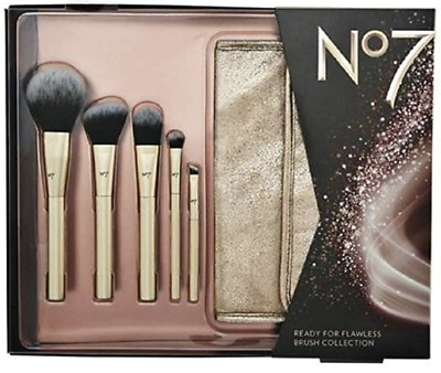 New in Box - Boots No7 Make Up Brush Gift Set with Gold Bag