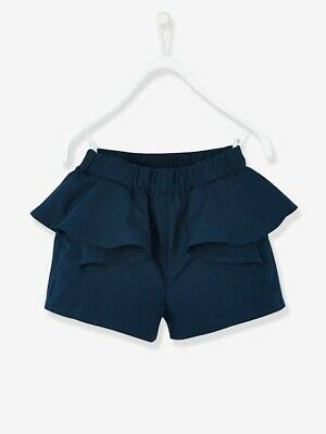 Vertbaudet girls cotton shorts with frill navy 24 months