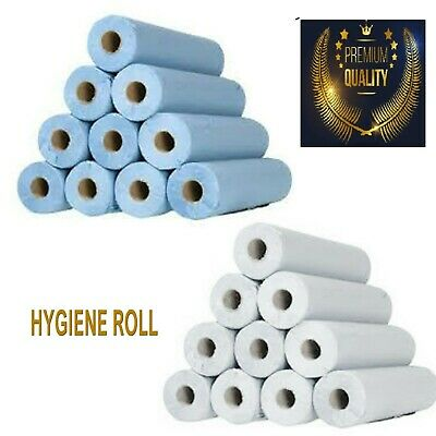 "Paper 20"" 40M WHITE/BLUE Hygiene Beauty Salon Massage Couch Table Bed Cover ROLL"