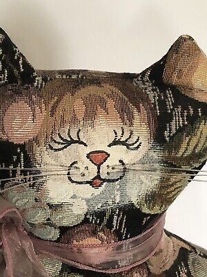 """Vintage Stuffed Floral Tapestry Canvas Cat 13"""" Weighted Door Stop"""