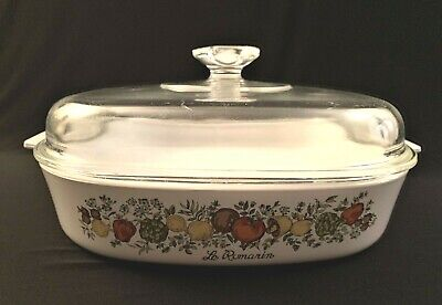 """Vintage CORNING WARE 9 3/4"""" SQUARE CASSEROLE BAKING Dish PYREX LID Spice of Life"""