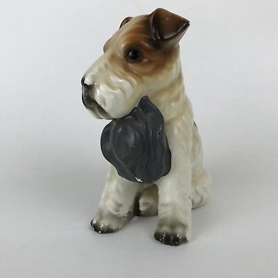 Wire Haired Fox Terrier Figurine Porcelain Dog Sitting with Hat Japan