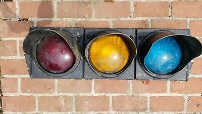 30s 40s Art Deco Crouse Hinds Traffic Signal Light w/  Smiley Lenses