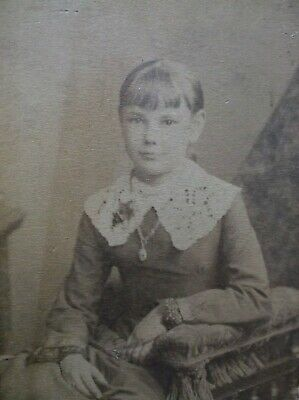 CDV Lovely Young Girl Necklace Lacy Collar Bangs Pittsburgh PA