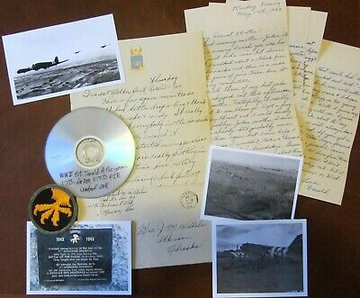 "2 WWII letter lot, D-Day & S France C-47, 17th Airborne patch 517th ""holocaust"""