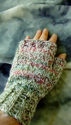 Womans plain  finger less gloves, hand knitted wool/acrylic mix dk