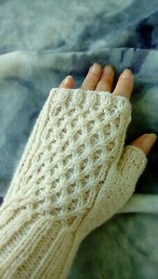 Womans cabled  finger less gloves, hand knitted merino wool 4 ply