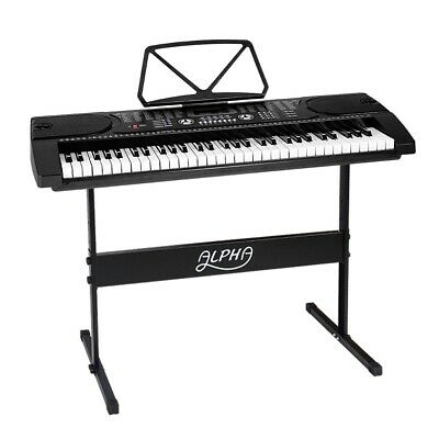 Alpha 61 Keys Electronic Piano Keyboard LED Electric Holder Music Stand