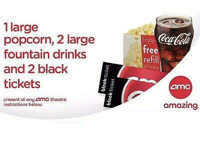 2 AMC Theater Tickets, 2 Large Drinks, and 1 Large Popcorn. Email Delivery