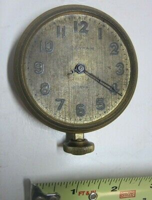 1912 Waltham Watch Co 8 Days Large Open Face Car Clock Brass Case PARTS REPAIR