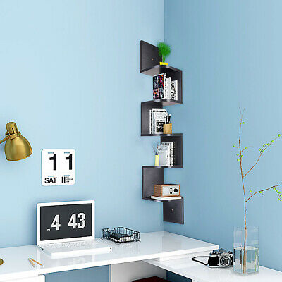 5 Tier Wall Mount Corner Shelf Floating Shelves Wood Storage Rack Bookcase Black