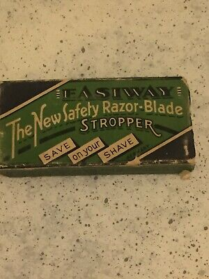 1950'S Easiway Hone Sharpening Stone Razor Blade Stropper With Box Vintage Shave