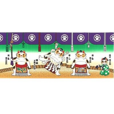 TENUGUI Japanese Cotton Hand Towel Fabric MADE IN JAPAN 90X35cm Lucky Cat Sumo