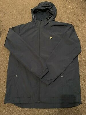 Lyle and Scott Zip Through Hooded Jacket in Navy Blue - Coat