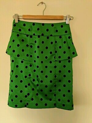 REVIEW Green Polkadot Peplum Skirt - Size 6 - EUC