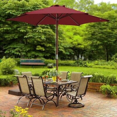 2.4m Wood Patio Umbrella Parasol Wine Garden Cafe Beach Outdoor Sunshade Canopy