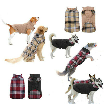 UK Dog Winter Waterproof Warm Padded Jacket Coats Clothes For Medium / Large Pet