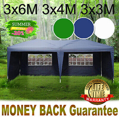 Gazebo Marquee Party Tent With Sides Waterproof Garden Patio Outdoor Strong 3x6m