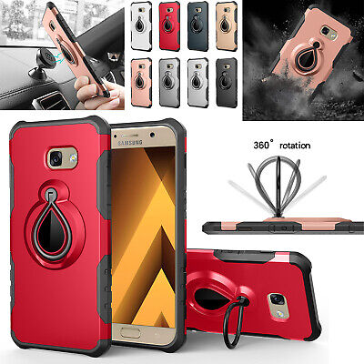 For Samsung Galaxy A3 A5 A7 2017 Case with Ring Holder Stand Heavy Duty PC Cover