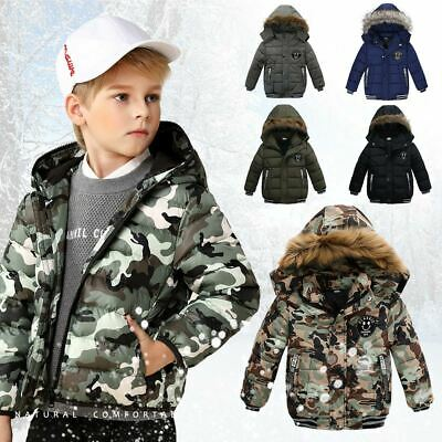 Toddler Baby Kids Boy Winter Fur Down Overcoat Outerwear Warm Hooded Coat Jacket