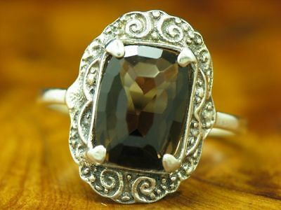 835 Silver Ring with Smoky Topaz Decorations / Real Silver/2,4g/RG55