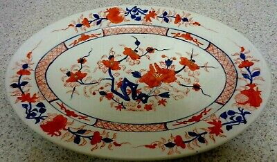 "Antique Hand Painted Oriental Signed  LG IMARI 10 x 14 "" Porcelain Tray Platter"