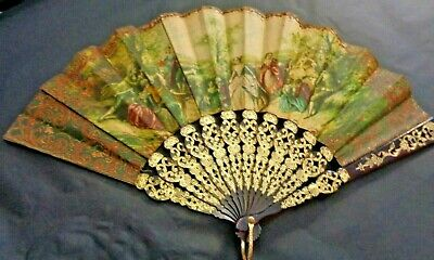 Vintage Victorian Fabric Ladies Scene Fan. Faux Tortershell Mount Gold Gilt Rim