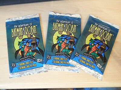 3x Batman & Robin Adventures - Sealed Packs (4 cards + 1 Colouring Card)  1995