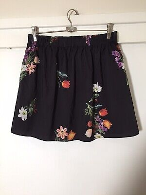 Sheike Ladies Black Floral Mini Flare Skirt Size 10 Good Condition