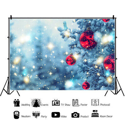 Christmas Bauble Backdrop Abstract Balls Snowflakes  Plank Theme Background lskn