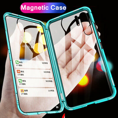 For Samsung Galaxy S10 Plus A60 Note 10 Magnetic Tempered Glass Metal Case Cover