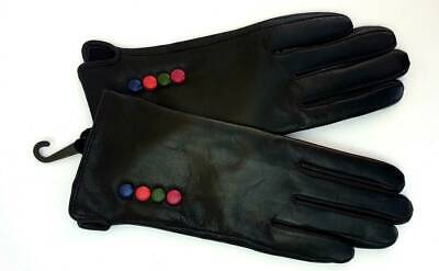 New Ladies Soft Full Black Leather Gloves Four Coloured Buttons