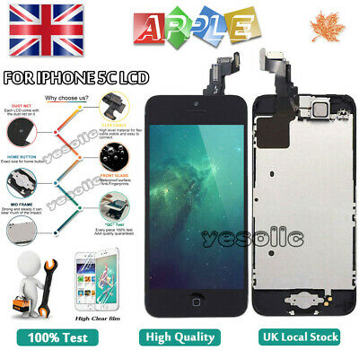 For iPhone 5C Screen Replacement LCD Touch Digitizer + Camera Button Black