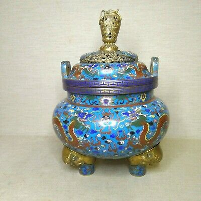 Antique Chinese cloisonne censer, 19th-20th century.