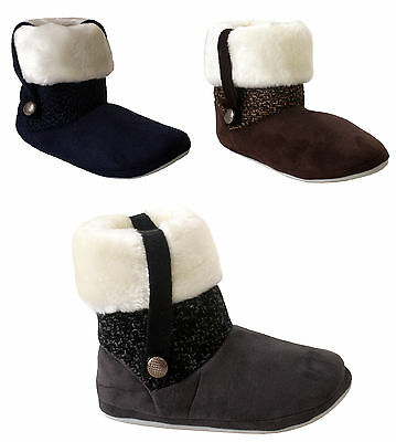 Womens Ladies Girls Coolers Warm Fur Lined Bootie Winter Ankle Slippers Shoes Uk