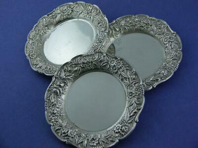 3 Sterling S KIRK & SON Butter Pats / Dishes REPOUSSE no.17F ~no mono