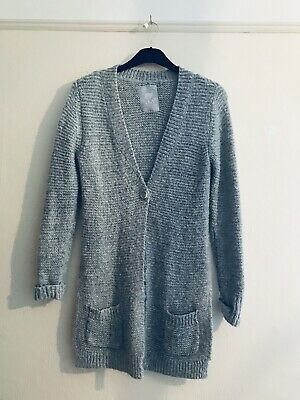 TU Age 12 Grey Silver  Knitted Long Cardigan Boho Indie Autumn  Winter Snuggle