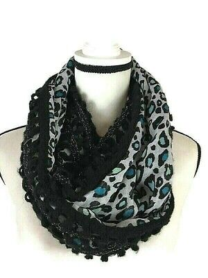 Leopard Cheetah Wild Animal Lace Print Block Circle Loop Wrap Infinity Scarf