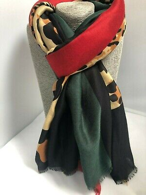 Gorgeous large Leopard print Scarf Brown tones with blocks of red & green wrap