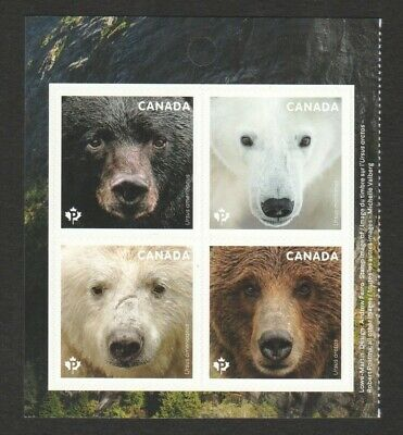 Canada 2019 Our Bears Self Adhesive Souvenir Sheet Of 4 Stamps Mint Mnh Unused