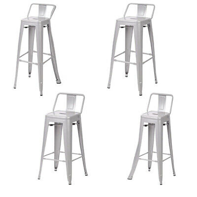 Metal Vintage Stool Kitchen Breakfast Bar Stools Sgabello Due Silver - Four