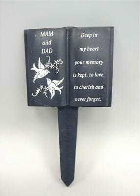 Mam and Dad Slate Grey Memorial Book Stake Grave Plaque Spike Marker Tribute