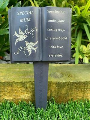 Mum Slate Grey Memorial Book Stake Dove Detail Grave Plaque Spike Marker Tribute