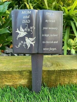 Mum and Dad Slate Grey Memorial Book Stake Grave Plaque Spike Marker Tribute