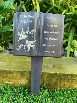 Someone Special - Slate Grey Memorial Book Stake Dove Grave Plaque Spike Tribute