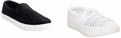 New Womens Ladies Slip On Flat Plimsolls Pumps Canvas Summer Trainers Shoes Size