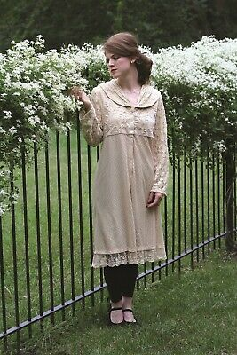 Victorian Trading Co April Cornell Ivory Lace Mirabelle Coat Dress MED 43B