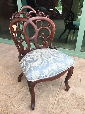 Laminate Rosewood Side Chair, Belter/springmyer Victorian 1860s